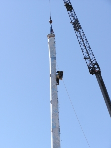 Cloudcam pattern on a Cellular tower being erected in Baltimore.